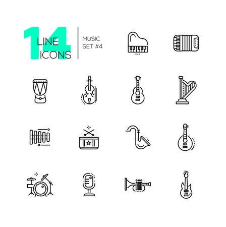 plucking: Musical Instruments - line icons set
