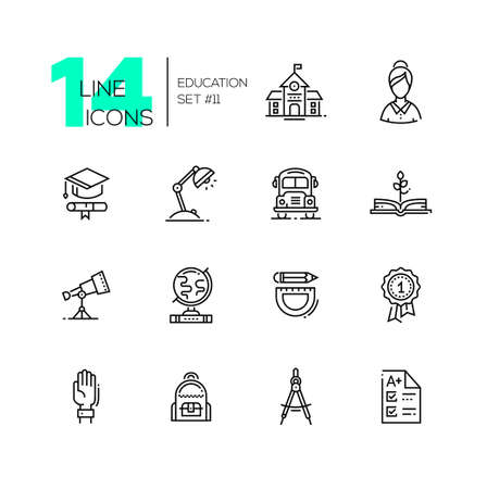 School and Education - line icons set