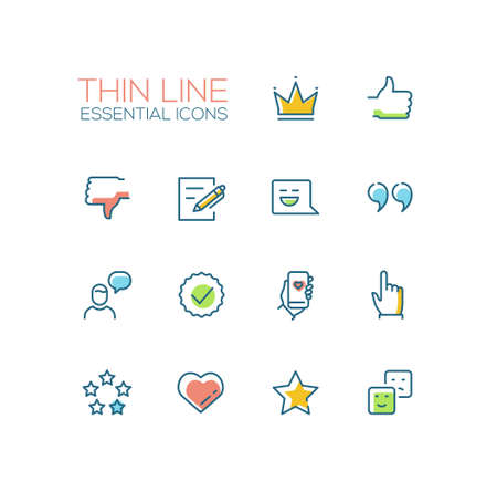 Social Network Signs - Thin Line Icons Set