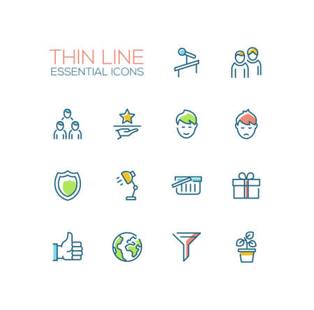business meeting computer: Business - Thin Single Line Icons Set