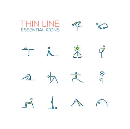 concentrate: Yoga Poses - Thin Single Line Icons Set
