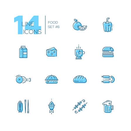 cafe food: Kinds of Food Cafe Menu Line Icons Set