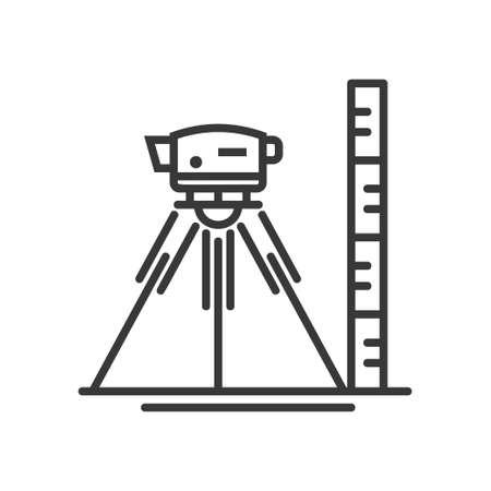 Surveyor poziom - wektor nowoczesny design linii ikonę ilustracyjne Ilustracje wektorowe