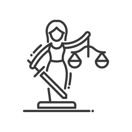 Justice - vector modern line design illustrative icon Illustration