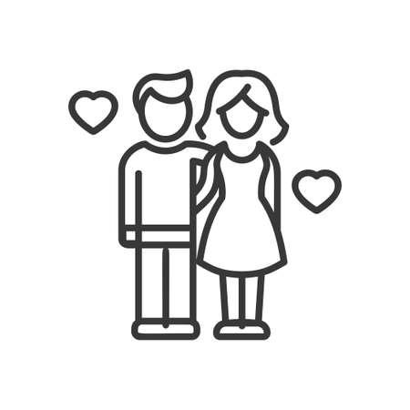 Love and Unity - vector modern line design illustrative icon Illustration