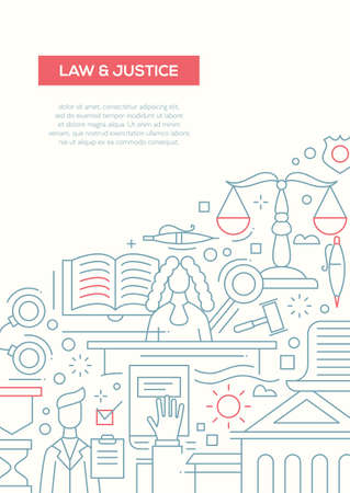 Law and Justice - line design brochure poster template A4 Illustration