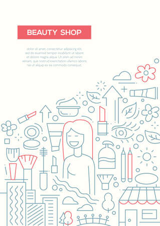 beauty shop: Beauty Shop - line design brochure poster template A4