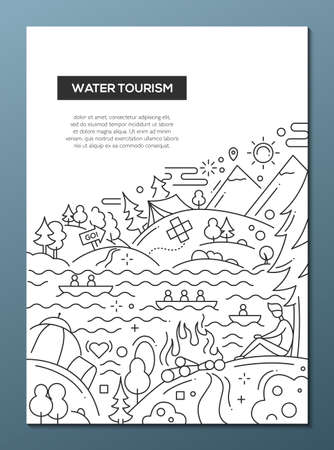 water: Water Tourism - line design brochure poster template A4 Stock Photo