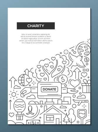Charity - line design brochure poster template A4 Stock Photo - 81834288