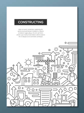 constructing: Constructing - line design brochure poster template A4