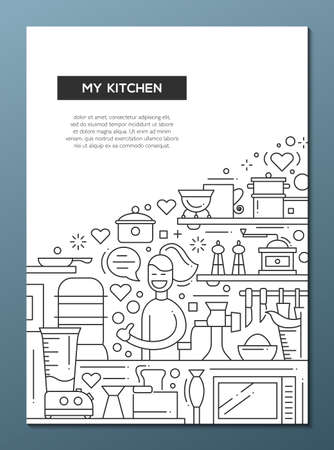 alumnos en clase: My Kitchen - line design brochure poster template A4 Foto de archivo