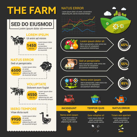grain fields: Organic farming vector infographic template and icons in flat design Illustration