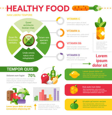 Healthy food vector illustrative template set with infographic elements