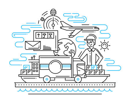 Delivery service line flat design illustration with male and cargo