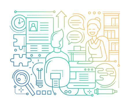 applicant: Job Interview - line design composition - color gradient Illustration