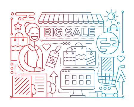 design: Big Sale - line design composition - color gradient Illustration