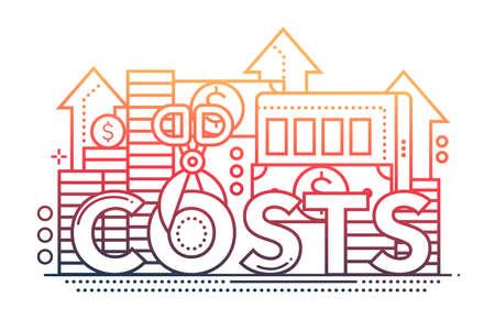 Reduzca los costos - banner de sitio web de diseño de línea plana