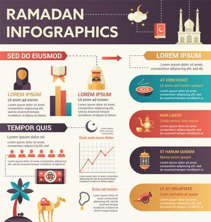 Ramadan - infografisch platte ontwerp illustratie met copyspace