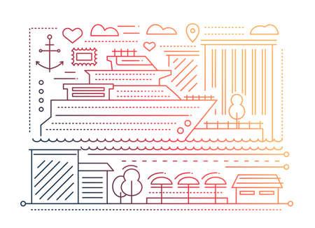 design: Voyage trip - line flat design illustration
