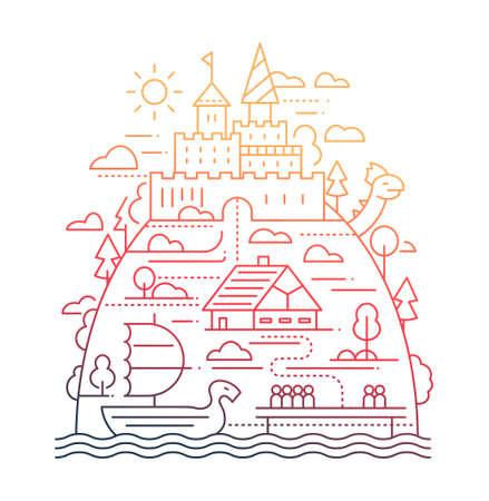 Ancient City Life - line design composition