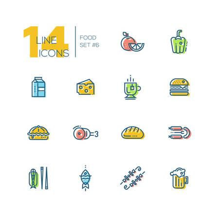 cafe food: Kinds of Food Cafe Menu Thick Line Icons Set Illustration
