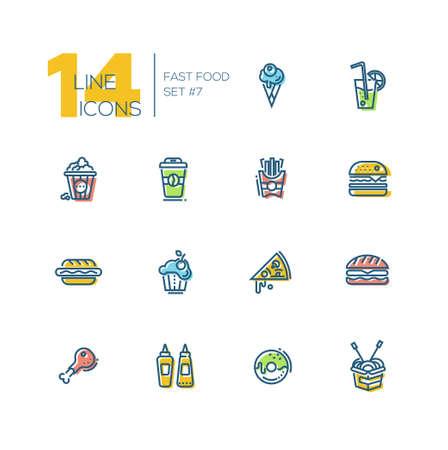 cafe food: Fast Food Cafe Menu Thick Line Icons Set