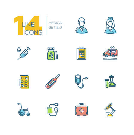Medical Equipment - thick line icons set