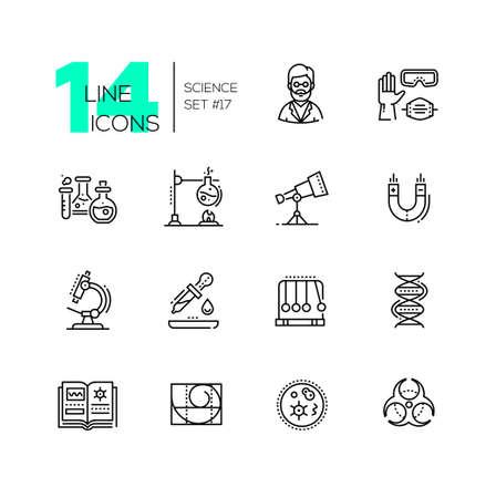 Science - modern single line icons set Illustration