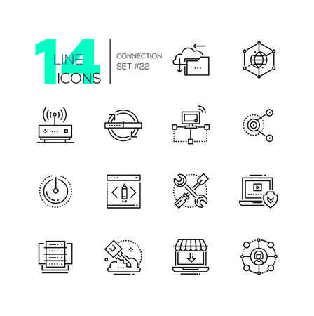 public folder: Connection - monochromatic modern single line icons set.