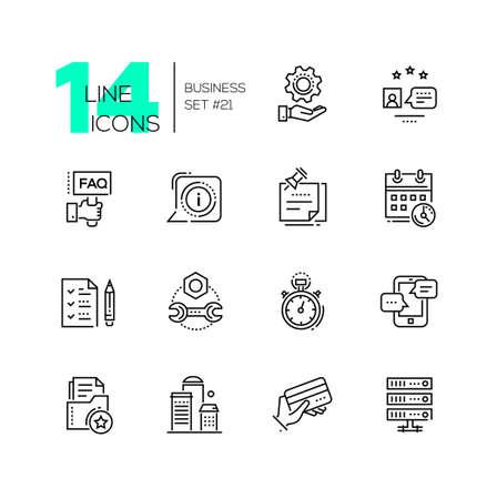 public folder: Business - monochromatic modern single line icons set Illustration