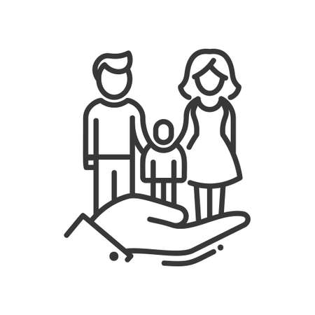Here is a Family - vector modern line design icon
