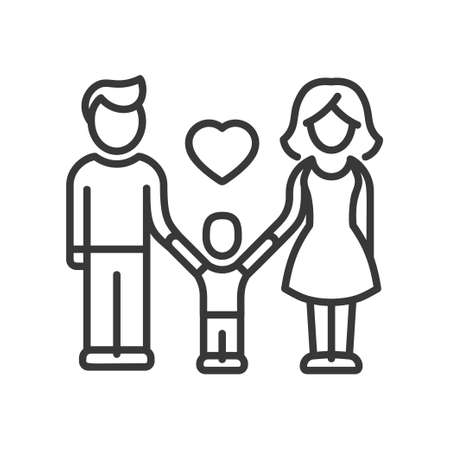 one child: One Child Family - vector modern line design illustrative icon