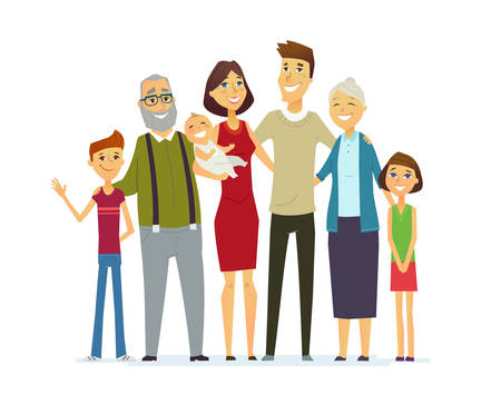 lineage: Family - coloured modern flat illustrative composition.