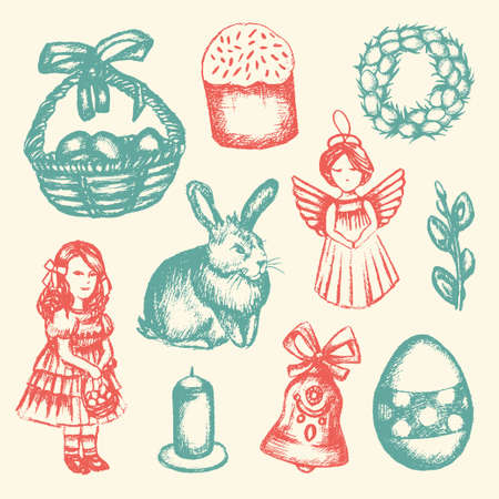 Happy Easter - color hand drawn illustrative composition. Stock Photo