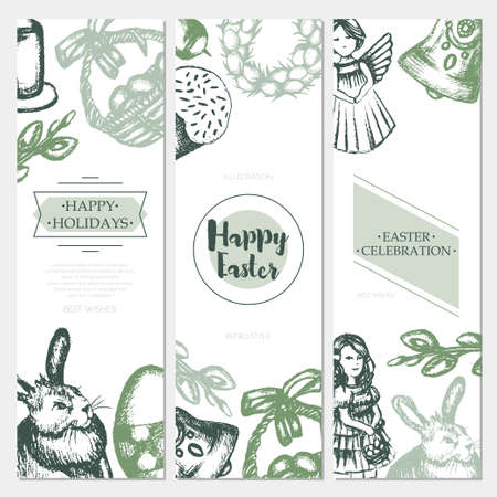 Happy Easter - color hand drawn square template card. Imagens