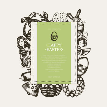 Happy Easter - monochromatic hand drawn square banner. Фото со стока