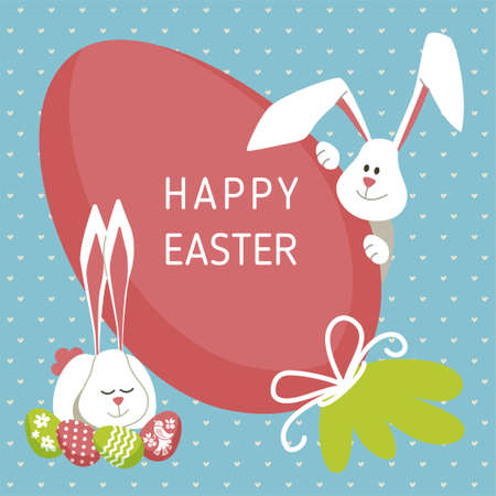 Happy Easter - modern vector card Stock Photo