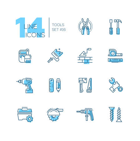 tapeline: Tools - coloured modern single line icons set