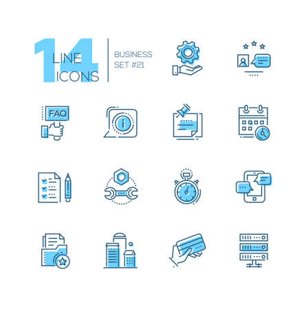 Business - gekleurde moderne single line icons set