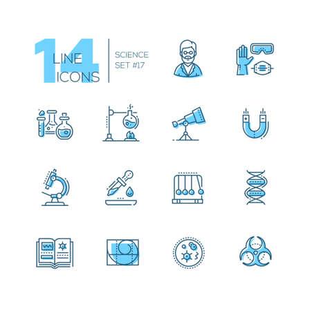 Science - coloured modern single line icons set Imagens