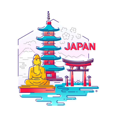 bodhisattva: Japan- modern vector line travel illustration