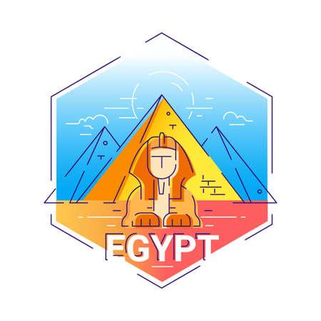 Egypt - modern vector line travel illustration