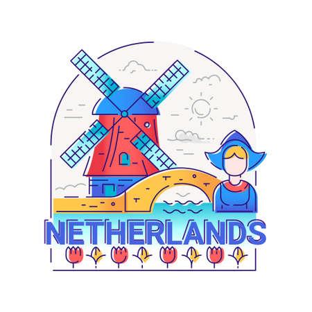 Netherlands - modern vector line travel illustration Reklamní fotografie - 74269627