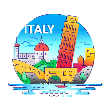 Italy - modern vector line travel illustration