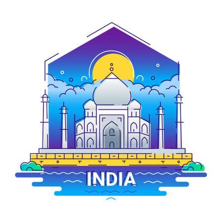 India - modern vector line travel illustration Illustration