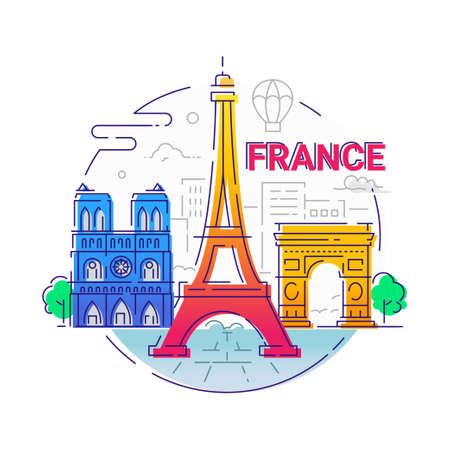 France - modern vector line travel illustration Illustration
