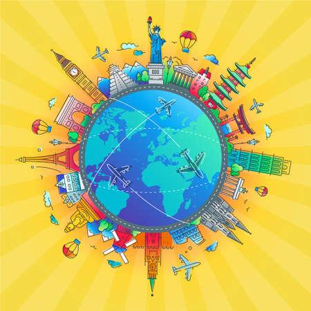 Alrededor del mundo - composición de viaje de diseño plano