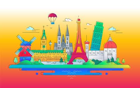 European landmarks flat design composition