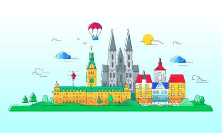 art museum: European countries - vector line travel illustration