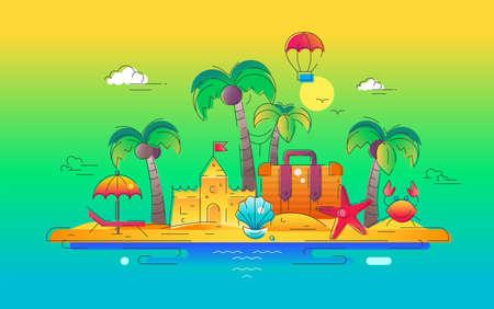 At the Seaside - vector line travel illustration